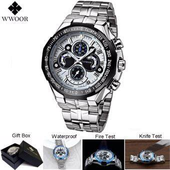 Harga Loveu Men Watches Best Gift Stainless Steel Quartz Watch Luminous 30m/ 3ATM/ 3BAR Water Resistance Casual Sports Watch, White