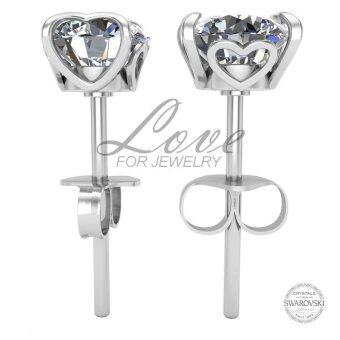 Harga Love For Jewelry Caring Heart Earrings LJE015 Crystal From Swarovski (18k White Gold Plated)