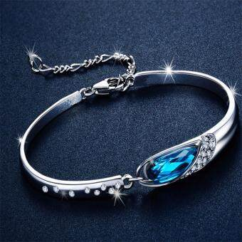 Harga Hequ Fashion Jewelry Wholesale Austria Crystal Bangle Bracelet For Women Love Gift