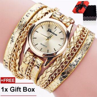 Harga Loveu Ladies Watch Women's Casual Vintage Multilayer Wristwatch Weave Wrap Rivet Leather Bracelet Wrist Watch-Gold