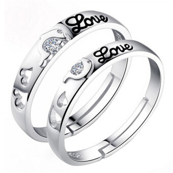 Harga Fashion Dolphin Love Silver Couple Rings Wedding Bands Promise Love Jewelry Gift
