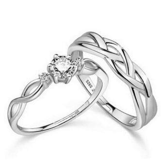 Harga Couple Rings Jewellry 925 Silver Adjustable Lovers Ring Jewelry E028