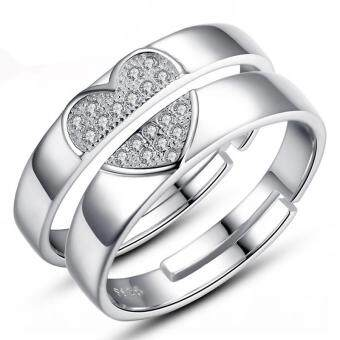 Harga Couple Rings Jewellry 925 Silver Adjustable Lovers Ring Jewelry E026