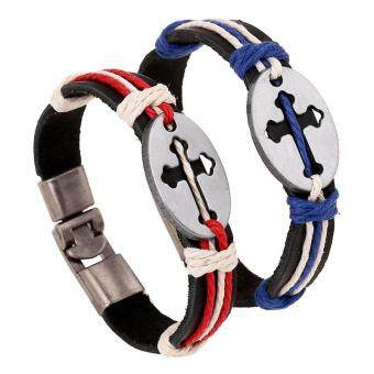 Harga 2pcs Couple Lover Fashion Handmade Cross Bracelets Bangles Jewelry