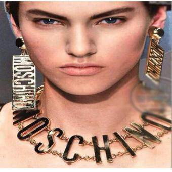 Harga LoveU Women's Fashion New Punk Bone Personalized Letters MOSCHINO Earrings