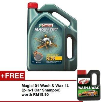 Harga Castrol Magnatec Stop-Start Fully Syn 5W-30 SNCF 4L FREE Magic101 Wash & Wax 1L worth RM19.90
