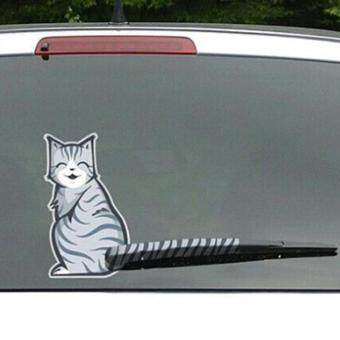 Harga LALANG Cute Cat Decal Moving Tail Car Cartoon Decor Windshield Wiper Sticker (Smile)