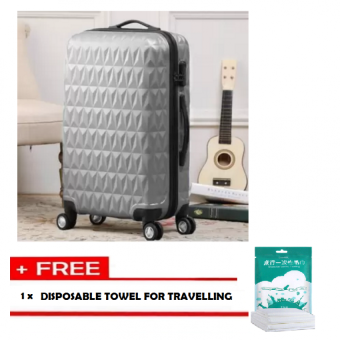 Harga Travelling Pack: Triangle Diamond 28'' Travel Luggage [Grey] With Free 1pc Disposable Travelling Towel