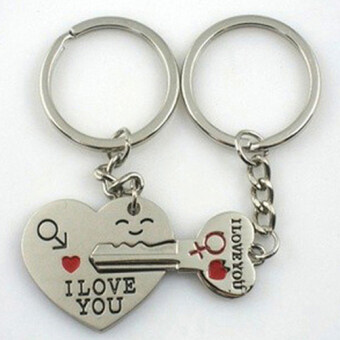 "Harga 2pcs Silver Couples Lover Metal Key Chain Ring ""Key To My Heart"" I LOVE YOU-"