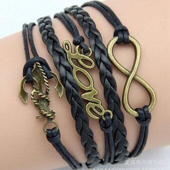 Harga Retro Infinity Anchor Love Word Leather Charm Bracelet Bronze Gift Cute Black - Intl