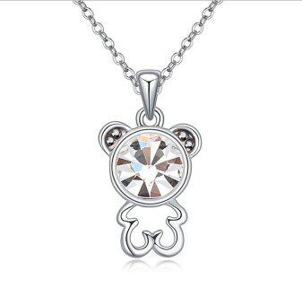 Harga LOVENGIFTS Swarovski Beary Love Pendant Necklace (White)