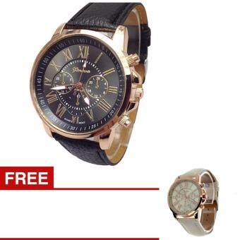 Harga JOOX Women Geneva Roman Numerals Faux Leather Analog Quartz Watch(Buy one get one free one )