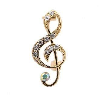 Harga Jewel Crystal Music Note Clef Brooch Pin 2Pcs Gold