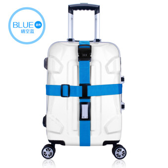 Harga FLORA Suitcase Luggage Strap Adjustable Cross Travel Belts with Lock (Blue)