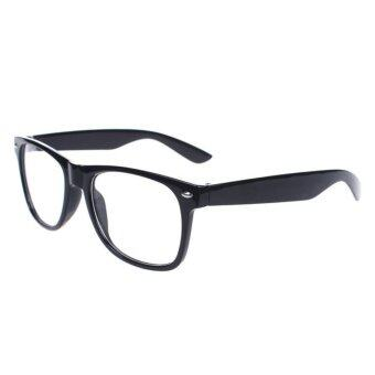 Harga Unisex Oversize Vintage Inspired Eyewear Geek Nerd Clear Lens Shades Glasses Black