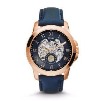 Harga Fossil Grant Automatic Navy Skeletal Navy Leather Men's Watch ME3054