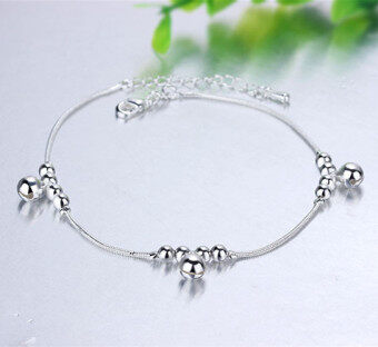 Harga Korean fashion female models personality silver plated bell anklets 925 silver anklets silver jewelry trade jewelry