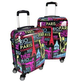 Harga Travel Star Ultralight Weight Luggage 2 in1 Set (20 Inch+24 Inch)- Colourful World
