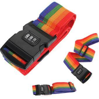 Harga Rainbow Travel Luggage Strap Suitcase Bag Digit with Lock Band Belt Tag Baggage