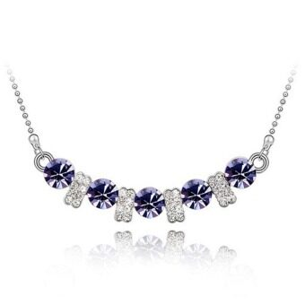 Harga La Vie Jewelry 925 Sterling Silver Zircon Love Pendant Necklace(Purple)