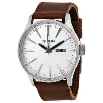 Harga Nixon Watch Sentry Brown Stainless-Steel Case Leather Strap Mens NWT + Warranty A1051113