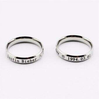 Harga Wholesale Kpop Justin Bieber J.B JBiebs Logo Silver ring Men or Women rings K-pop Z0225