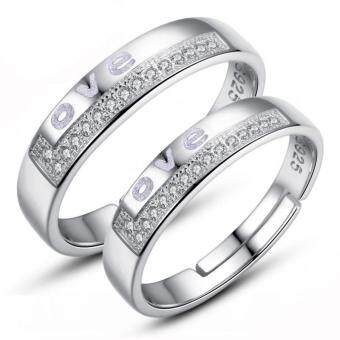 Harga Couple Rings Jewellry 925 Silver Adjustable Lovers Ring Jewelry E022