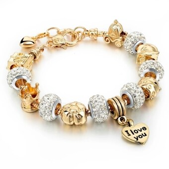 Harga Jochebed Summer 925 Sterling Murano Glass & Crystal DIY Charm Bracelets Fits Pandora Bracelets for Women Love Pulseras Jewelry (Gold)