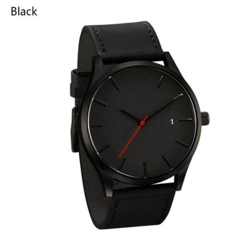 *Inspired Mens Fashion Casual Quartz Leather Wristwatch Simple Retro Design (Black) Malaysia