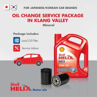 Jap/Korean Car - Mineral Shell Helix HX3 SL 20W-50 (4L) Engine Oil Change Service Package (Klang Valley)