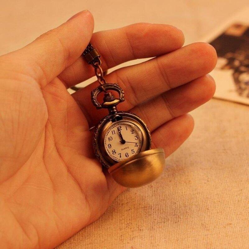 jiage Necklace Pocket Watch Unisex Alloy Pendant Retro AntiqueBronze Quartz Chain Ball Shape Best Gift (bronze) Malaysia