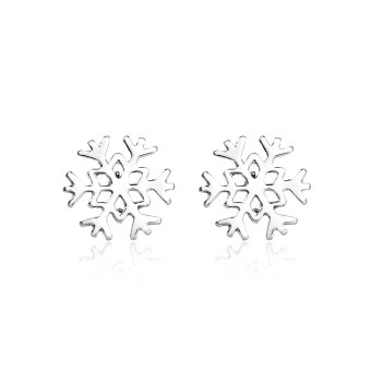 Jiayiqi Copper Plated Platinum Snowflake Silver Stud Earrings