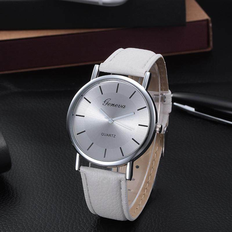 JY mans classic circular dial PU leather watch-White Malaysia