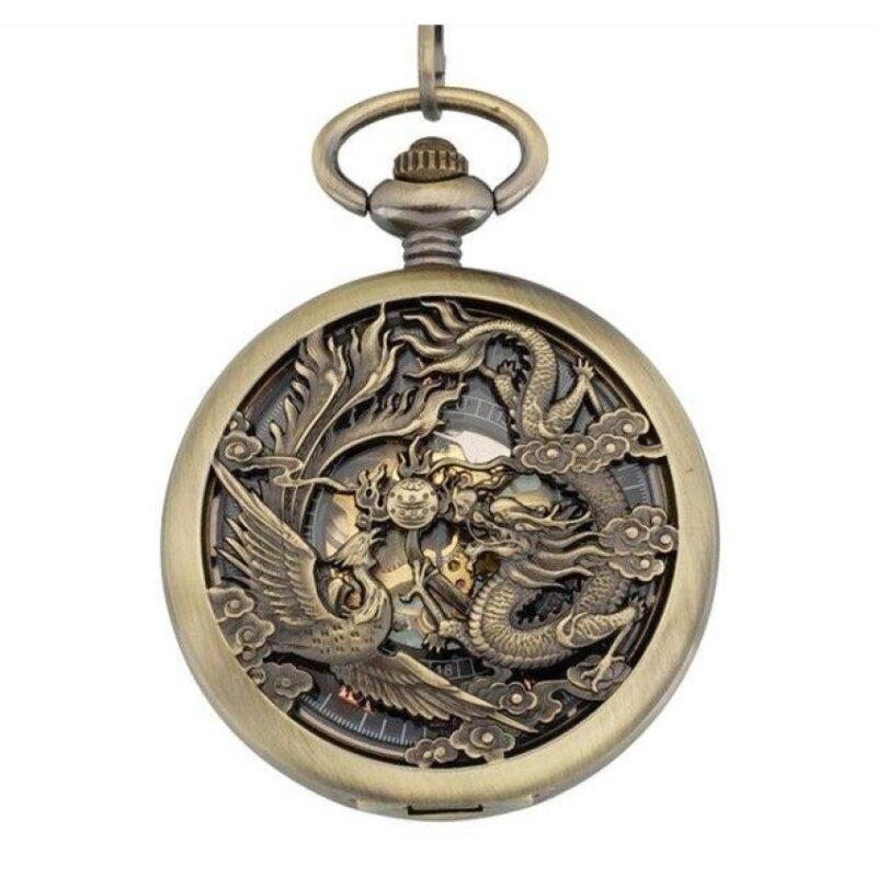 kobwa 2016 Retro Punk Watches Men Women Necklace Chain MechanicalDragon and Phoenix hollow Pendant Pocket Quartz Watch (Yellow) Malaysia