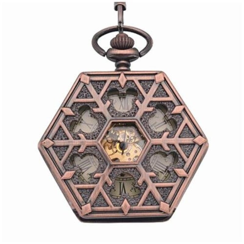 kobwa Antique red bronze Hexagonal automatic pendant fob watchretro pocket watch keychain vintage mechanical pocket watch withChain (Yellow) Malaysia