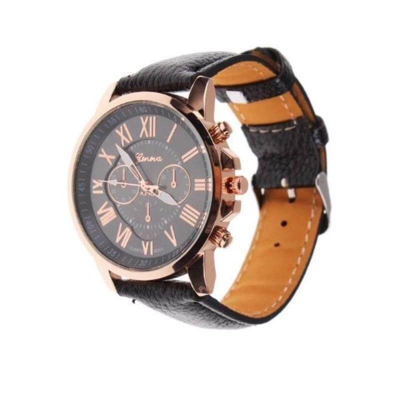 Korea Original Women Men Genava PU Genuine Leather Quartz Wrist Watch Watches Malaysia