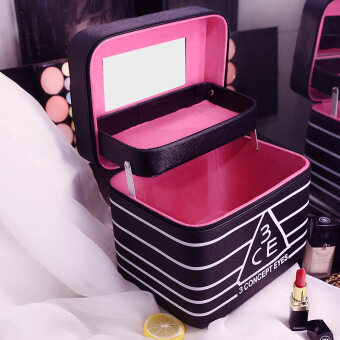 Korean cosmetic bag large capacity cosmetic case big easy hand madeskin care cosmetic box portable storage bag in bag