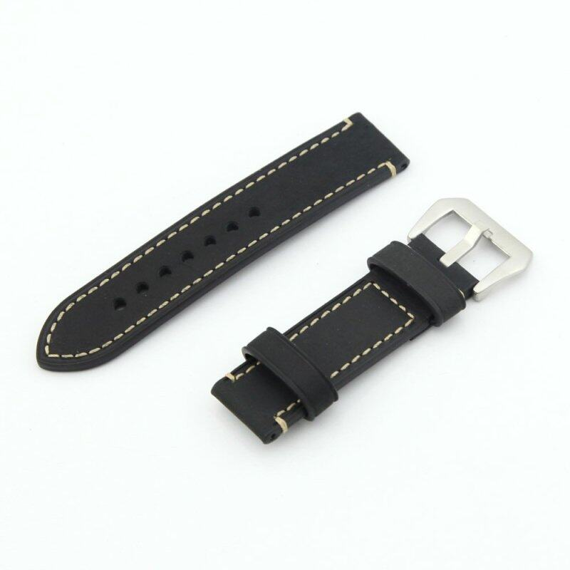 Leather Watch Band Strap Replacement Watch Belt 22mm for Man or Woman (Black) Malaysia
