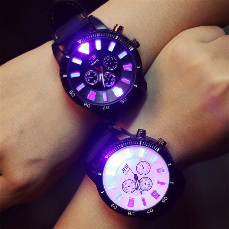 LED Watch for Lovers Couples Leather Big Dial Noctilucent Quartz Wristwatches (Black Dial, 1pcs) Malaysia