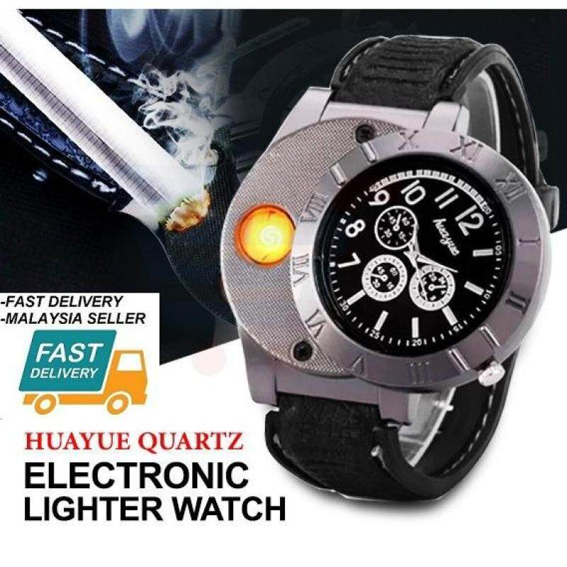 Lighter Watch Windproof Casual Military Quartz Watch USB Cigarette Cigar Flameless Lighter (NEW and HOT COOL PRODUCT) Fast Delivery Malaysia