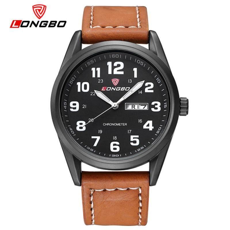 LONGBO Sports Leisure Water-repellent Luminite Dual-time Leather-strap Quartz Male Wristwatch Malaysia