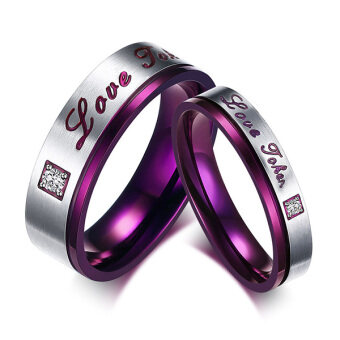 "Harga ""Love Token"" Engraved Rhinestones Stainless Steel Love Promise RingCouples Engagement Wedding Bands Purple"