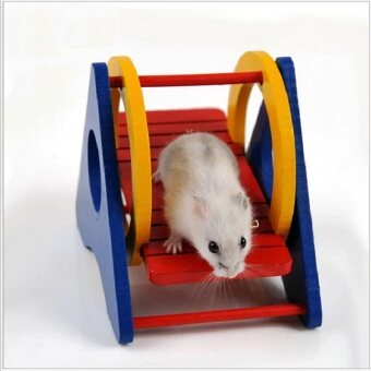 Lovely Natural Wooden Hamster Cage Hamster Toy Gerbil Cages&Accessories Chew Toys For Hamster Ladder Seesaw Pet Toy
