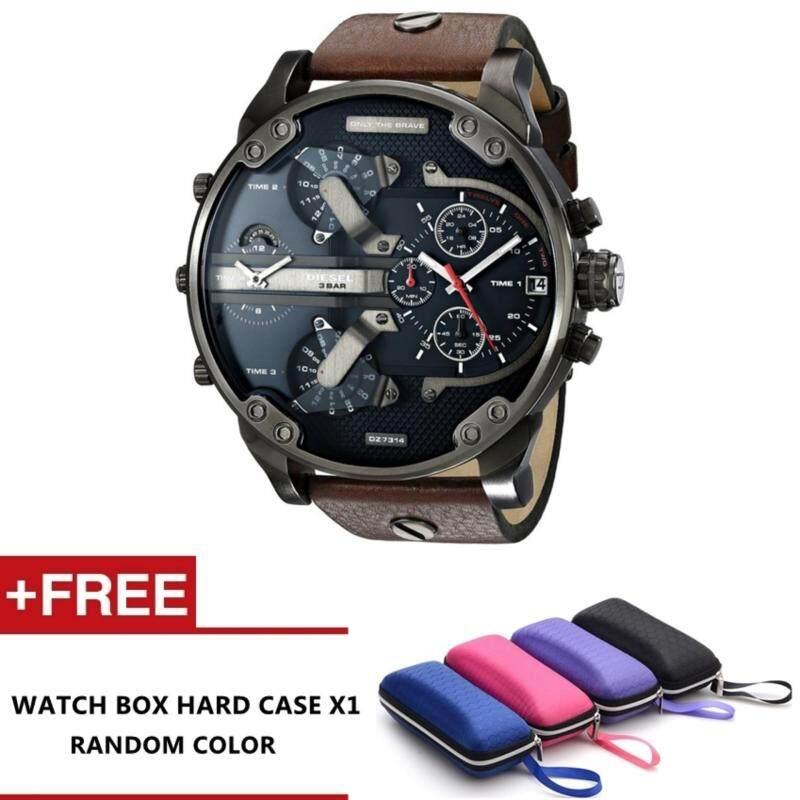 Luxardo Gunmetal Brown/ Black Leather Watch (Brown) Malaysia