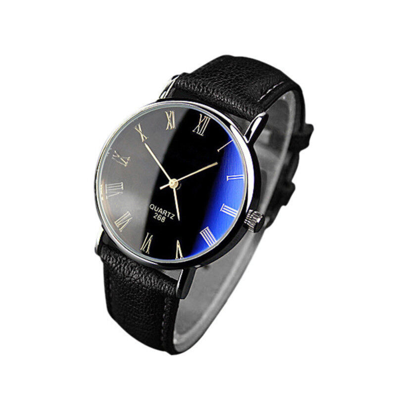 Luxury Fashion Faux Leather Mens Quartz Analog Watch Watches Black Malaysia