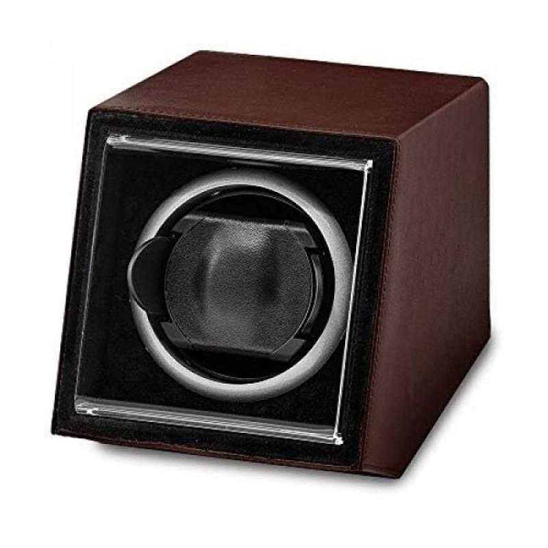 Luxury Giftware Brown Faux Leather Acrylic Window Single Watch Winder Malaysia