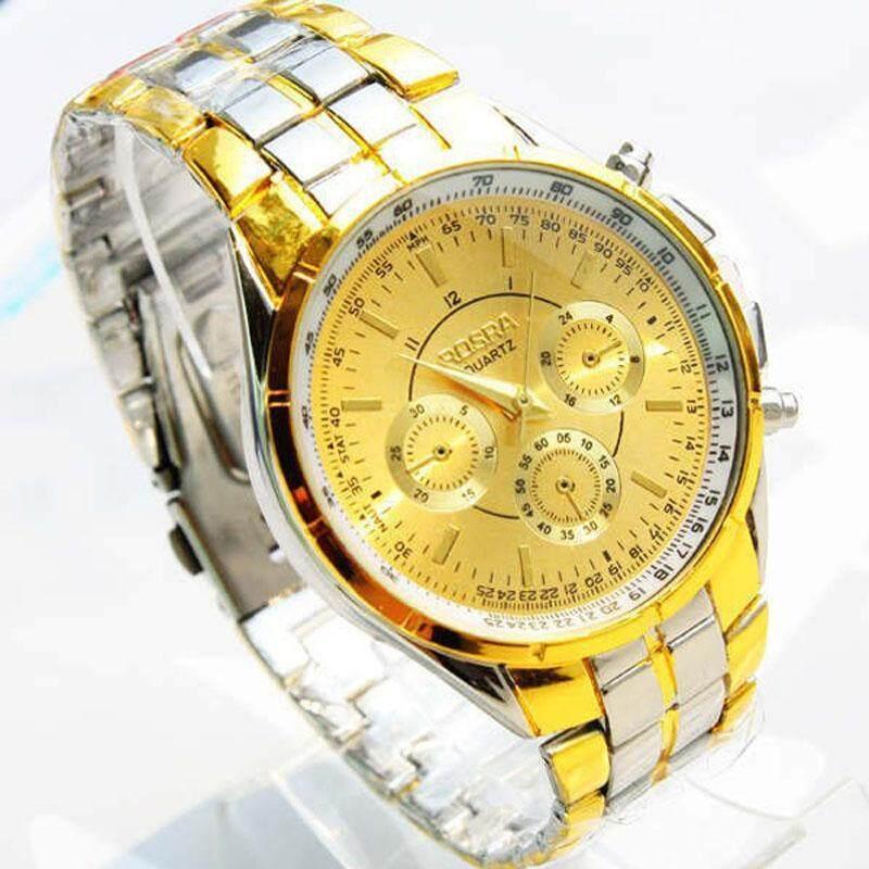 Luxury Men Roman Numerals Watches Metal Analog Quartz Fashion Wrist Watch gold Free shipping Malaysia