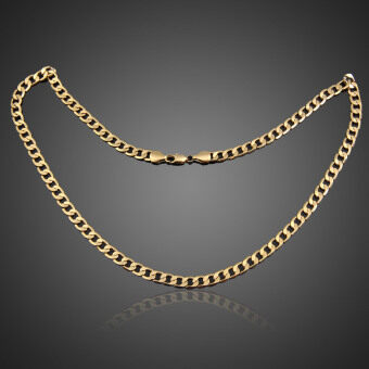 Detail Gambar Produk Luxury Men Women Flat Curb Link Chain Gold Plated Necklace forParty Gift Produk Terbaru