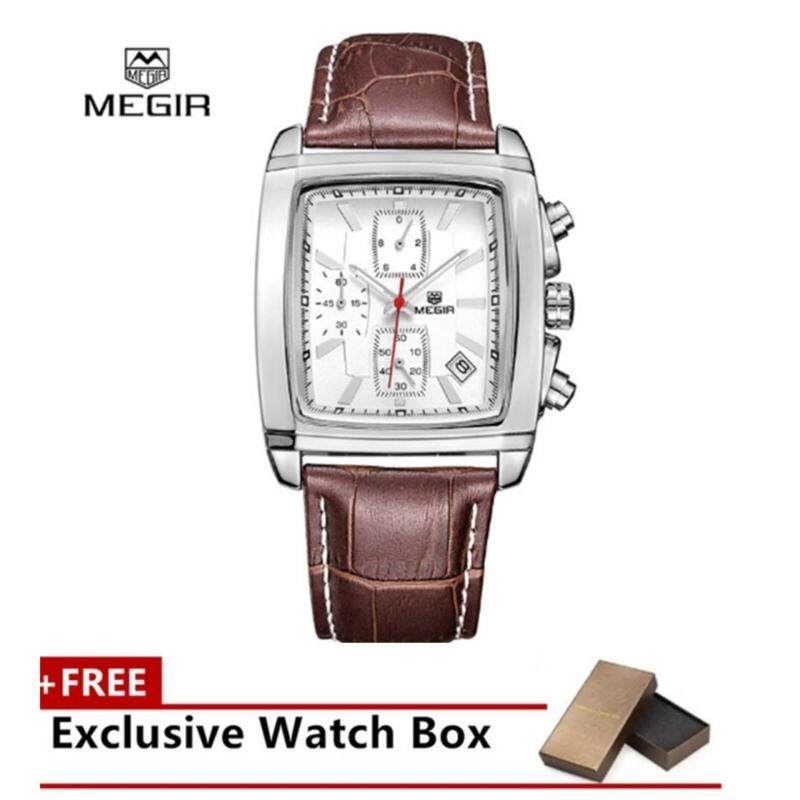 MEGIR(100% Authentic) Fashionable Quartz Wristwatch Leather Strap Square Dial Malaysia