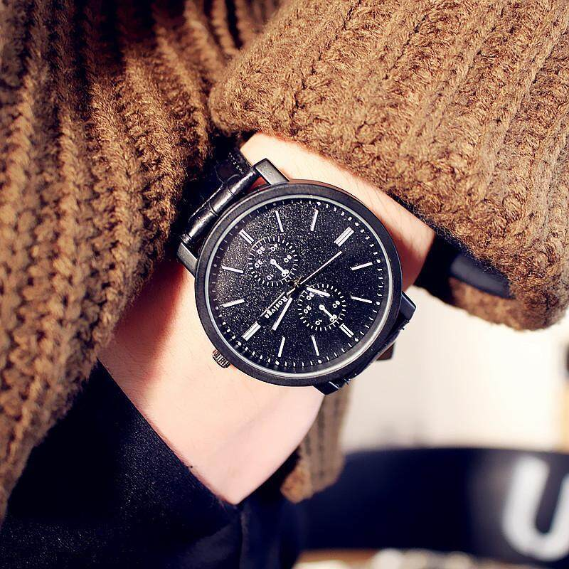 Mens Casual Leather Quartz Wrist Watch Black With White Malaysia